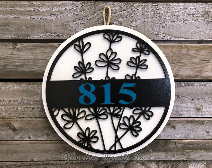 """HOUSE NUMBER Sign Wood Wall Mount 12"""" Circle 3D Custom Street Address Home Decorative Plaque Round Outdoor Housewarming Father's Day Gift"""