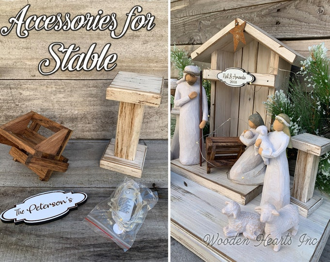 STABLE ACCESSORIES for a Nativity Creche *Wood Baby Manger, Angel Stand, Custom Engraved Personalized Sign, Fairy Lights *Fit Willow Tree