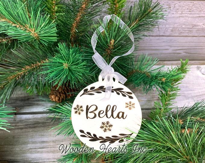 Personalized Ornaments Christmas Baby Kids Teacher Name Wedding Couple Pet Dog Cat First Xmas Boy Girl Wood Engraved Custom Tree Decor Gift