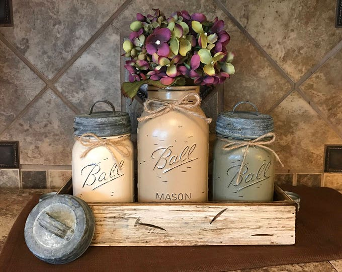 MASON Jar Kitchen CANISTER SET with metal galvanized lids, Utensil Holder, Painted Pint Jars Distressed Brown Tan Green *Flower Optional