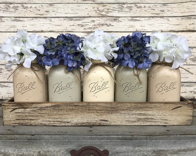 MASON Jar Decor Centerpiece (Flowers optional) -Antique Wood TRAY Rusty Handles 5 Ball Canning Painted QUART Jars Distressed Gray White Blue
