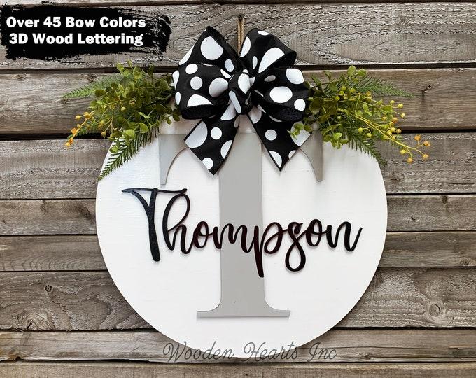 "MONOGRAM Custom Door Hanger 16"" Round name 3D Wood Letter Welcome Sign Wreath Bow Gift housewarming Wedding White Gray Black"