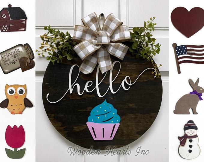 """Door Wreath Hello Hanger Welcome with Bow Front Door Decor + Interchangeable Season Changer Piece 14"""" Round Sign, Spring Easter Bunny Heart"""