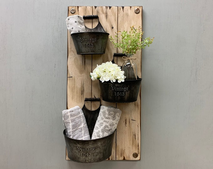 Shelf *Bathroom Caddy * vintageDistressed Wood *Rustic Home Decor *Towel Rack *Accessory Storage *Antique white 14X29