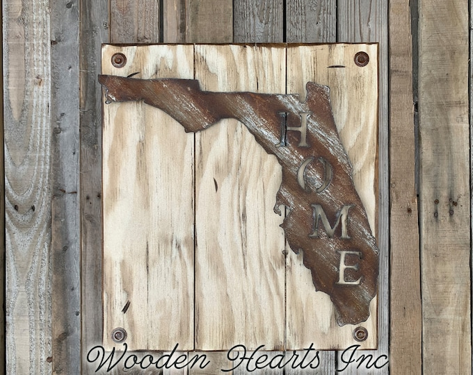 FLORIDA Wall Sign with Galvanized Metal *Hang indoor or outdoors *State Shaped HOME Reclaimed Steel Distressed ~ Rustic Antiqued White Wood
