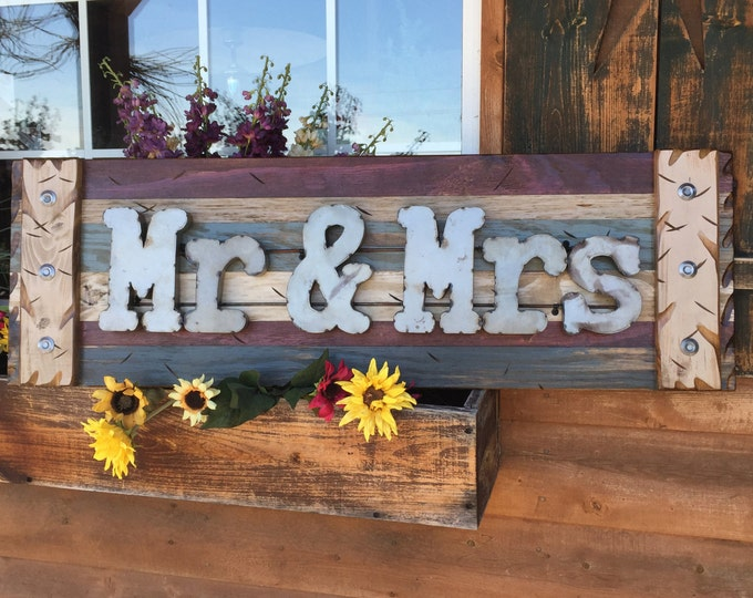MR & MRS Rustic Sign Reclaimed Shutter Distressed Industrial Navy Blue Green Burgundy Metal Large Pallet Wall Wedding Gift Home Decor Log