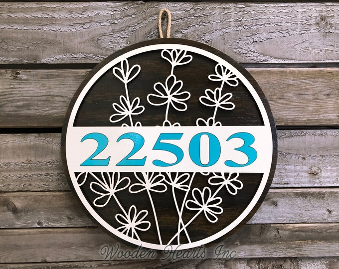 "HOUSE NUMBER Sign Wood Wall Mount 12"" Welcome Circle 3D Custom Street Address Home Decorative Round Outdoor Housewarming Father's Day Gift"