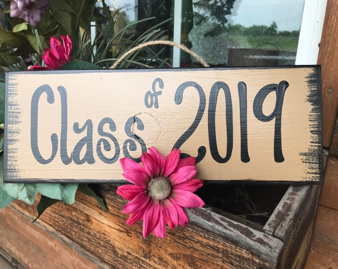 GRADUATION Party SIGN Class of 2019 2020 Grad Senior Pictures Prop Wood Graduate Year Decor Decorations Gift Cream Tan Turquoise Teal Blue