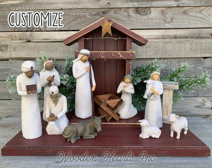 Nativity STABLE CRECHE for Willow Tree Angels *Lighted Nativity Distressed Christmas Decor *Personalized Sign Lights Baby Manger Angel Stand