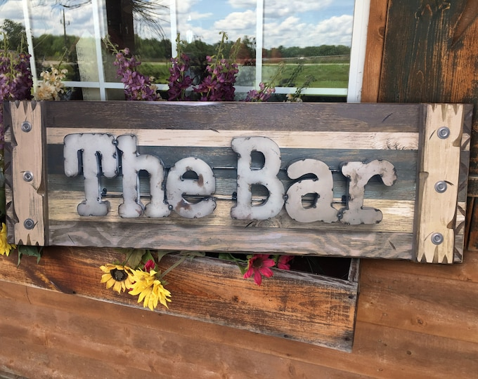 The BAR Rustic Sign Reclaimed Shutter Distressed Industrial Navy BROWN BLUE Metal Large Pallet Wall Man Cave Home Decor Gift for Men Beer