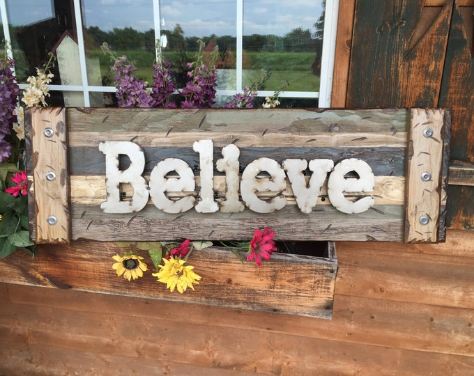 BELIEVE Rustic Sign BLUE GREEN Reclaimed Shutter Distressed Industrial Metal Large Pallet Wall Faith Love Home Decor Log Cabin