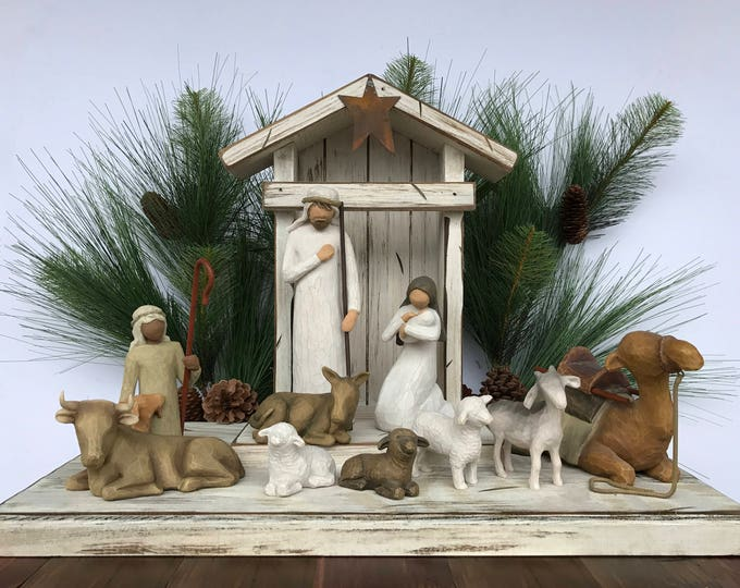 STABLE WOOD CRECHE Reclaimed for Willow Tree Angels *Nativity Distressed Stables fits *Baby Manger *Angel Stand *Burgundy Green White Baby