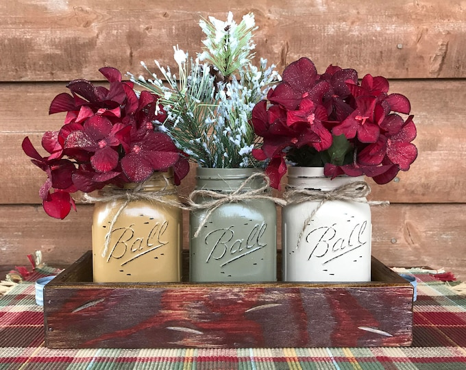 CHRISTMAS HOLIDAY Tray Centerpiece with Jars (Florals optional) Distressed Wood Antique RED pine flowers 3 Ball Pint Jar must-pewter-cream