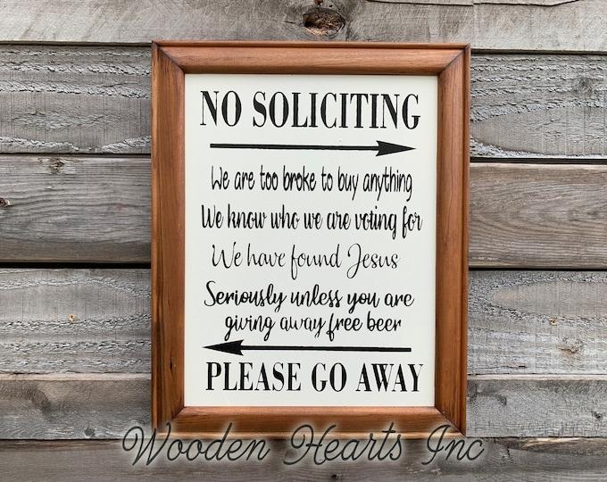 NO SOLICITING Humorous Sign Please Go Away Door Entryway Patio Dorm Porch Funny Comical Visitors Welcome Plaque Wood Frame Jesus Voting Beer