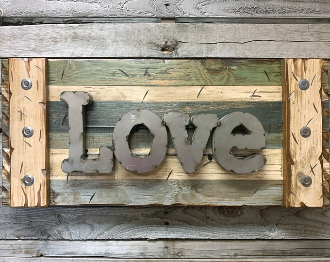 LOVE Rustic Sign Reclaimed Shutter Distressed Industrial Navy Blue Green Burgundy Metal Large Pallet Wall Home Decor Log Cabin Gift 32x14