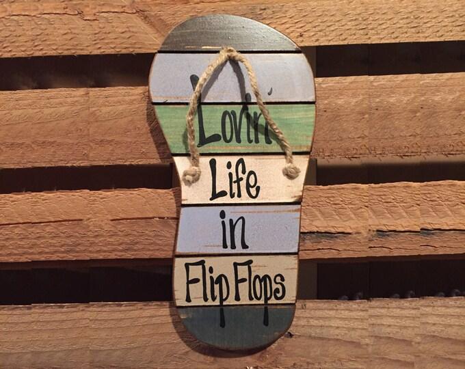SIGN Lovin Life in FLIP FLOPS Flop Reclaimed wood Pallet Wall Beach House Ocean Summer Lake Wooden Cutout Shaped Decor Green Blue Tan Cream