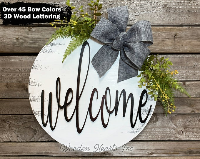 """WELCOME Sign Front Door Hanger 16"""" Round 3D Wood Wreath Bow Ribbon Greenery Everyday Sign Spring Easter Distressed White Gray Black"""