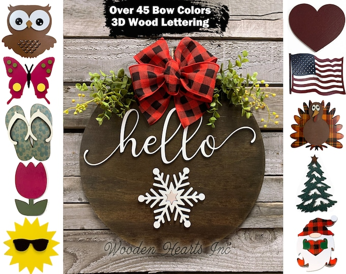 """Wreath for Front Door Hello Hanger Welcome with Bow Decor + Interchangeable Season Changer Piece 14"""" Round Sign, Spring Shamrock Heart Bunny"""