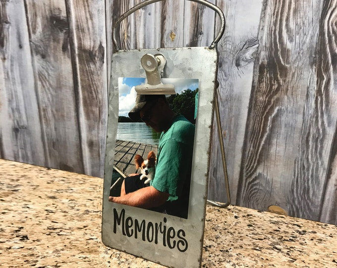 PHOTO HOLDER Metal Antique Cheese Grater with Clip/Clipboard Picture Frame great for 4x6 photos -Vintage Rustic Silver, Memories, Blessings