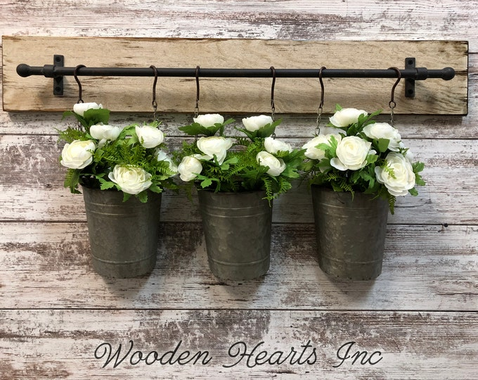 FARMHOUSE Wall Flower PLANTER with 3 metal buckets *Hang Indoors or Outdoors *Antique White (Flowers Optional) Distressed Rustic wood Decor