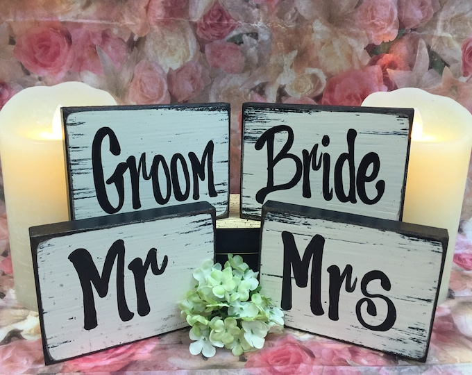 MR MRS & Bride Groom SIGNS Wood Husband Wife Wedding Anniversary Friend Bridesmaid Best Man Matron Maid of Honor Block Sign Woman Man Set