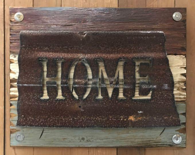 NORTH DAKOTA State Wall Sign with GALVANIZED Metal ~ Home Reclaimed Distressed ~ Rustic Red White Blue Wood ~ South Minnesota Iowa Nebraska