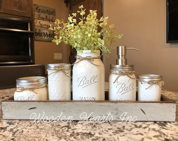 MASON Jar Kitchen Decor DOVE GRAY Tray Set, Cotton Ball, Tall Quilted, Quart Vase with Flower, Soap Dispenser, Mini Q-tip Jars