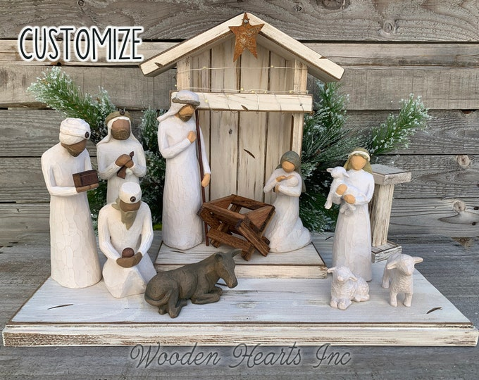 Nativity STABLE WOOD CRECHE fits Willow Tree Angels *Lighted Christmas Decor *Personalized Baby Manger Angel Stand Lights Green White Brown