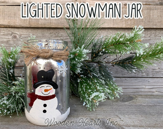 Lighted Snowman Jar Fairy LED Lights Handpainted Mercury Silver Gold Metallic Glass Quart Christmas Xmas Decoration Holiday Winter Decor