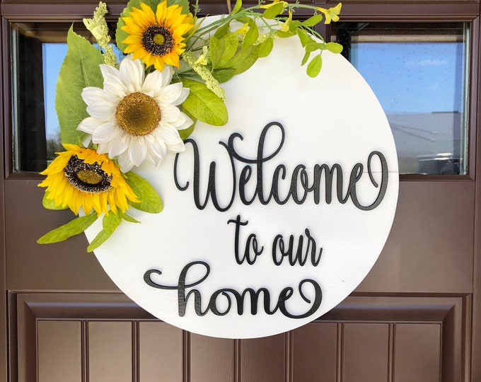"""Welcome to our home Wreath, Housewarming 16"""" Round Door Sign SUNFLOWER Spring Summer Wall Hanging White Yellow, Hello *Indoor or Outdoor"""