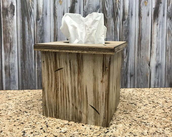 TISSUE BOX COVER, Wood Kleenex Holder, Square, Kitchen Bathroom, Wooden rustic distressed decor, antique red blue gray white cream 6""