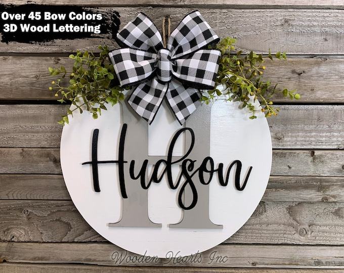"Custom MONOGRAM Door Hanger 16"" Round 3D Wood Letter Name Welcome Sign Wreath Bow Gift Housewarming White Gray Black"