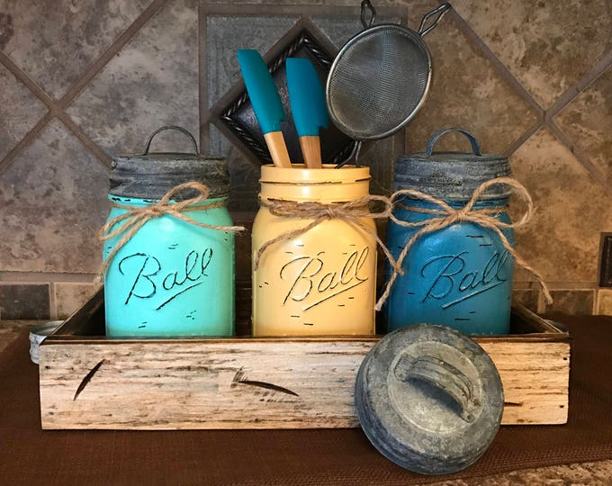 MASON Jar Kitchen CANISTER SET with metal galvanized lids, Mini Utensil Holder, Painted Pint Jars Distressed Blue Yellow *Flower Optional