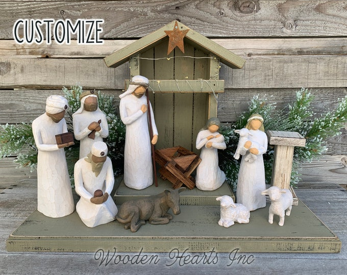 WOOD STABLE CRECHE fits Willow Tree Angels *Lighted Nativity Christmas Decor *Personalized Baby Manger Angel Stand Lights Green White Brown