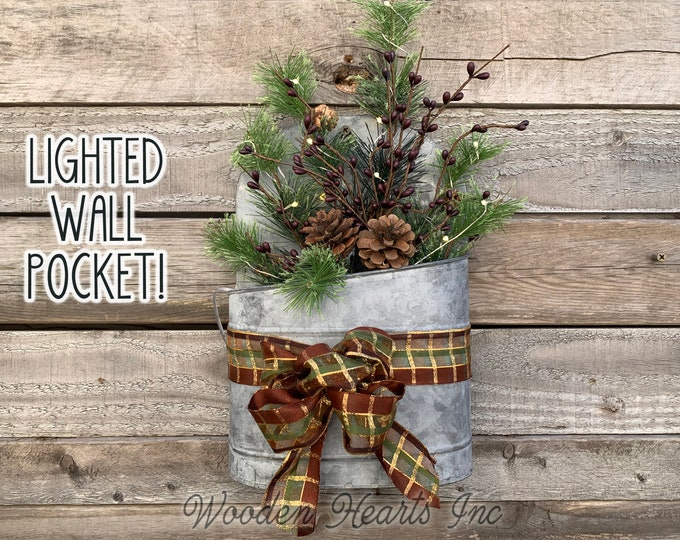 Christmas Wall Tin Pocket Galvanized Planter Metal Lighted Evergreen Pinecones Arrangement Fairy Lights Xmas Hanging Decoration Bow Holiday