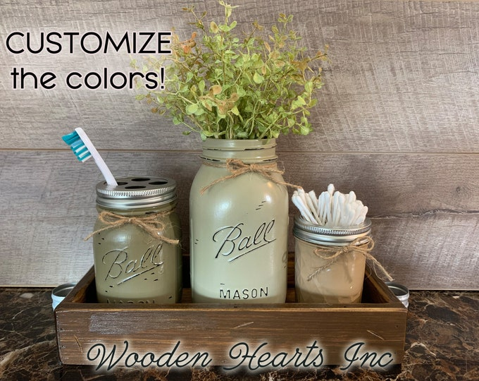 Bathroom Counter Mason Jar SET in BROWN TRAY, Toothbrush Holder, Quart Ball Vase, Mini Q-Tip Jars Painted Distressed Decor Silver
