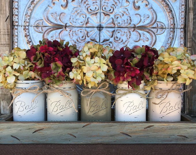 MASON Jar Decor Centerpiece (Flowers optional) -River Rock TRAY with Reclaimed Handles- 5 Ball Canning Painted Pint Jars Distressed Wood