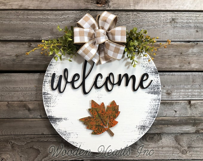 "FALL Door Hanger  Wreath Year Round Welcome Bow Front Door/Porch Decor + Interchangeable  14"" Sign, Hello Pumpkin Leaf Housewarming GIFT"