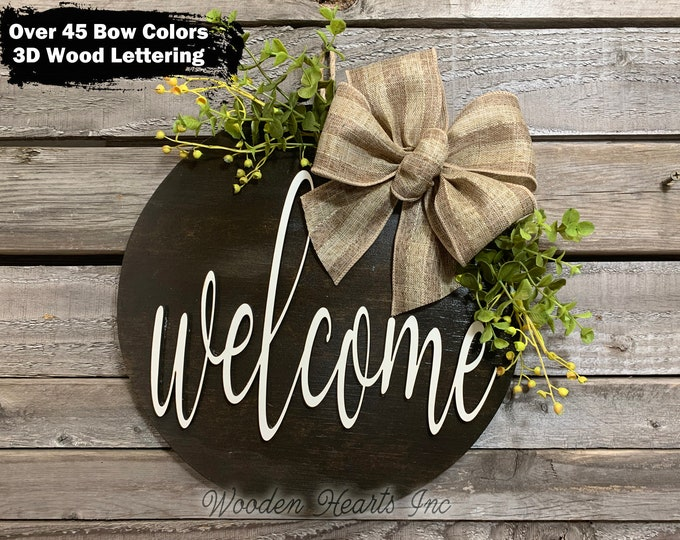 """WELCOME Door Hanger Round Sign Wood Wall Mount 12"""" Circle 3D Home Decorative Plaque with Bow (Magnetic optional) Outdoor Housewarming"""