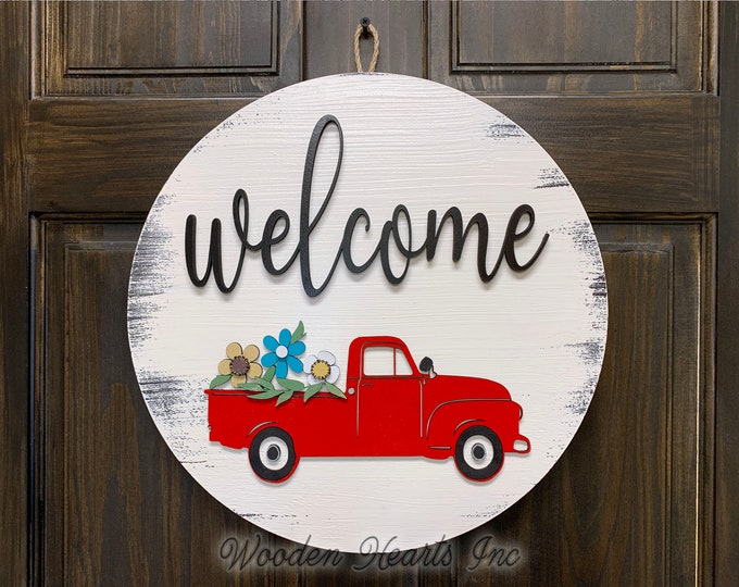 "Welcome Sign Front Door Hanger RED TRUCK with FLOWERS 16"" Round Wood Wreath Everyday Spring Easter Vintage Distressed White Gray Black"