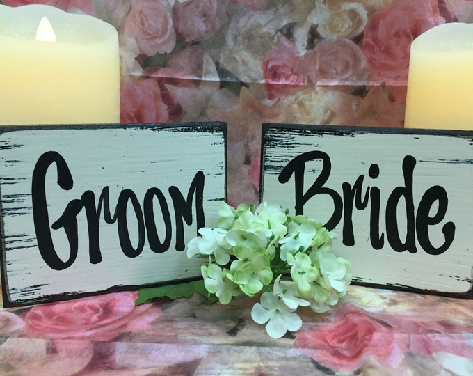 BRIDE & GROOM SIGNS Wood Husband Wife Wedding Anniversary Friend Mr Mrs, Best Cake Topper Place card cards, Block Sign Woman Man White Ring