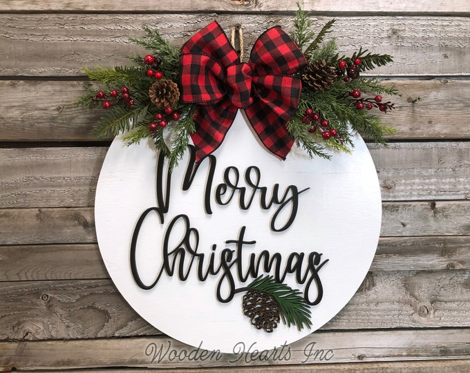 "Merry Christmas Holiday Door hanger Wreath Wood Round Pinecone Sign Greenery, Happy Holidays, Seasons Greetings, 16"" 3D Wood Lettering Bow"