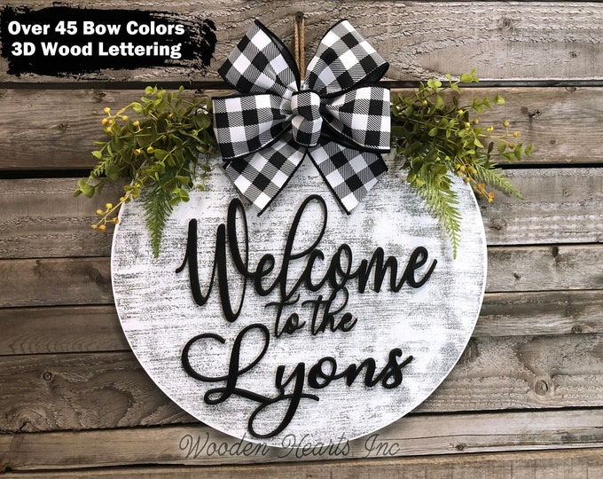 """Personalized Door Hanger Welcome Wreath with Custom Last Name Bow Ribbon Greenery Front Decor Everyday 16"""" Round Sign Spring Easter White"""