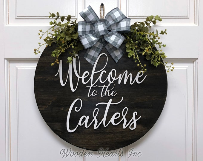"Personalized Door Hanger Welcome Wreath with Custom Last Name Bow Ribbon Eucalyptus Front Decor Everyday 16"" Round Sign Spring Easter White"