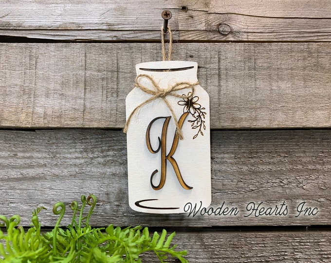"Mason JAR with 3D LETTER Personalized Mini Hanging Wall Ornament Last Name Family Teacher Wedding Wood Monogram Custom Decor Gift 5"" x 2.75"""