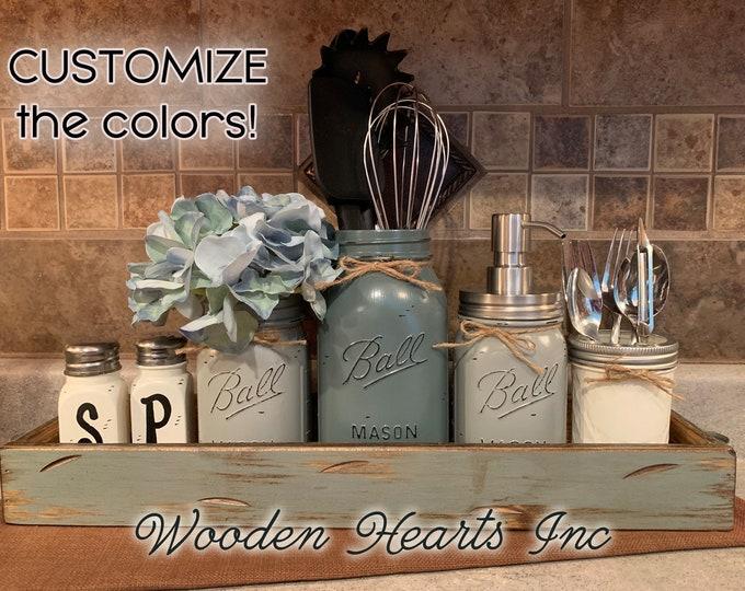 Kitchen Mason Jar Decor Wood TRAY SET, Salt & Pepper Shakers, Pint Flower Vase, Quart Utensil Holder, Soap Dispenser, Mini Silverware Jars