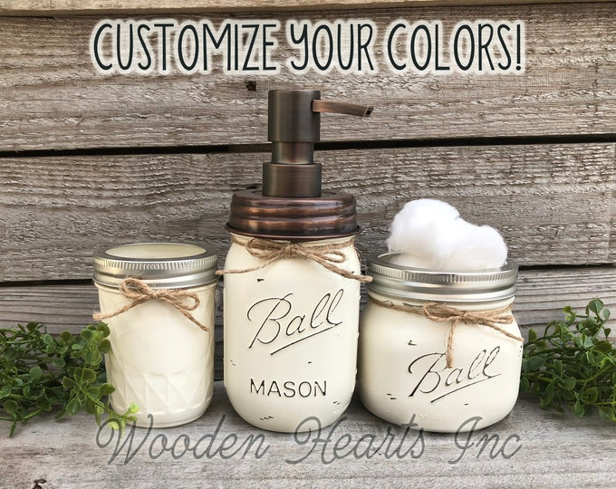 Soap Pump 3 piece Mason JAR SET Bathroom Decor Farmhouse, Lotion Dispenser Makeup Brush Toothbrush Holder Painted Ball Jars Kitchen Counter