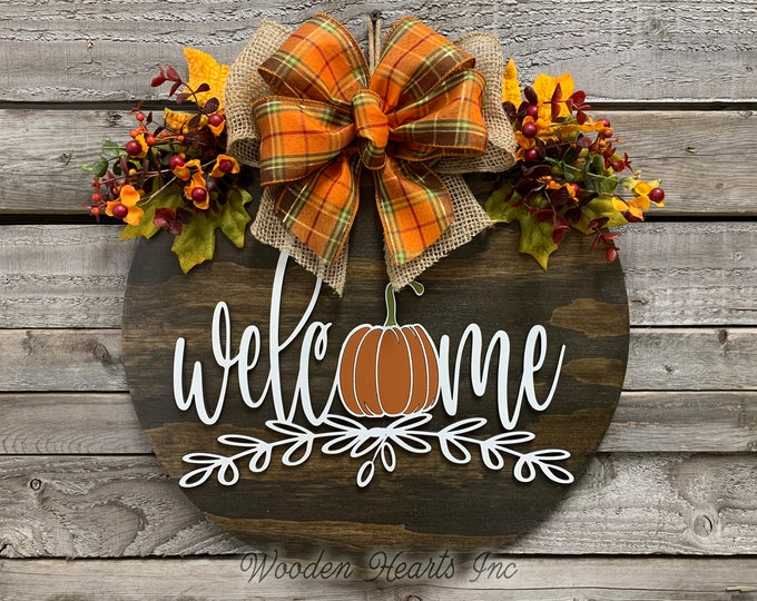 """FALL Door hanger Wreath WELCOME Pumpkin Wood Round Sign 16"""" 3D Wood Lettering Bow  Leaves with Berries Distressed White Orange Brown"""