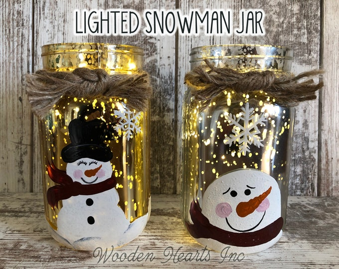 LIGHTED SNOWMAN Jar Christmas Decor Fairy LED Lights Handpainted Mercury Silver Gold Metallic Glass Quart Holiday Xmas Decoration Winter