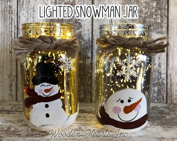LIGHTED SNOWMAN Jar Christmas Decor Fairy LED Lights Handpainted Mercury Silver Gold Metallic Glass Quart Holiday Xmas Decoration Winter